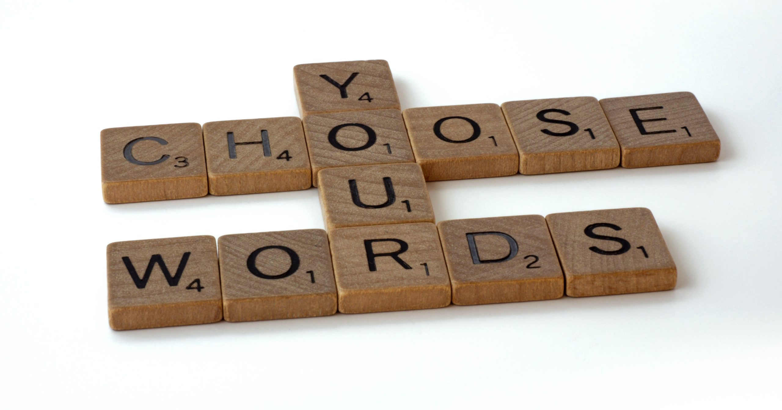 Image of scrabble tiles forming the words Choose Your Words